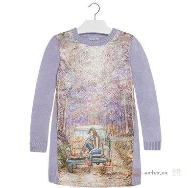 80f12c83834d dlouhé pletené šaty Mayoral fialové - detske-artex.cz