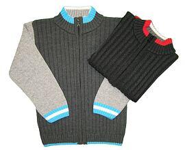 svetr na zip chlapecký velikost 110 až 134 šedotyrkysový 9627f4f8fe